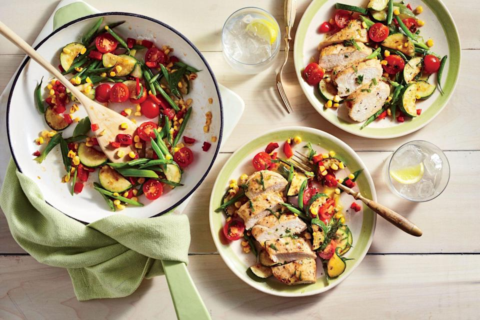 """<p><strong>Recipe: </strong><a href=""""https://www.southernliving.com/recipes/chicken-charred-succotash-salad-recipe"""" rel=""""nofollow noopener"""" target=""""_blank"""" data-ylk=""""slk:Chicken and Charred Succotash Salad"""" class=""""link rapid-noclick-resp""""><strong>Chicken and Charred Succotash Salad</strong></a></p> <p>If you have leftovers, this easy supper is delicious for lunch the next day, even served cold.</p>"""