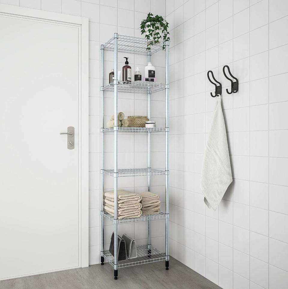 "<p>The <a href=""https://www.popsugar.com/buy/Omar%201-Section%20Shelving%20Unit-447011?p_name=Omar%201-Section%20Shelving%20Unit&retailer=ikea.com&price=40&evar1=casa%3Aus&evar9=46151613&evar98=https%3A%2F%2Fwww.popsugar.com%2Fhome%2Fphoto-gallery%2F46151613%2Fimage%2F46152200%2FOmar-1-Section-Shelving-Unit&list1=shopping%2Cikea%2Corganization%2Ckitchens%2Chome%20shopping&prop13=api&pdata=1"" rel=""nofollow noopener"" target=""_blank"" data-ylk=""slk:Omar 1-Section Shelving Unit"" class=""link rapid-noclick-resp"">Omar 1-Section Shelving Unit</a> ($40) will make your pantry look like a professional kitchen in seconds.</p>"