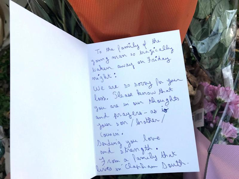 A message left at the scene of the stabbing (Tom Horton/PA)