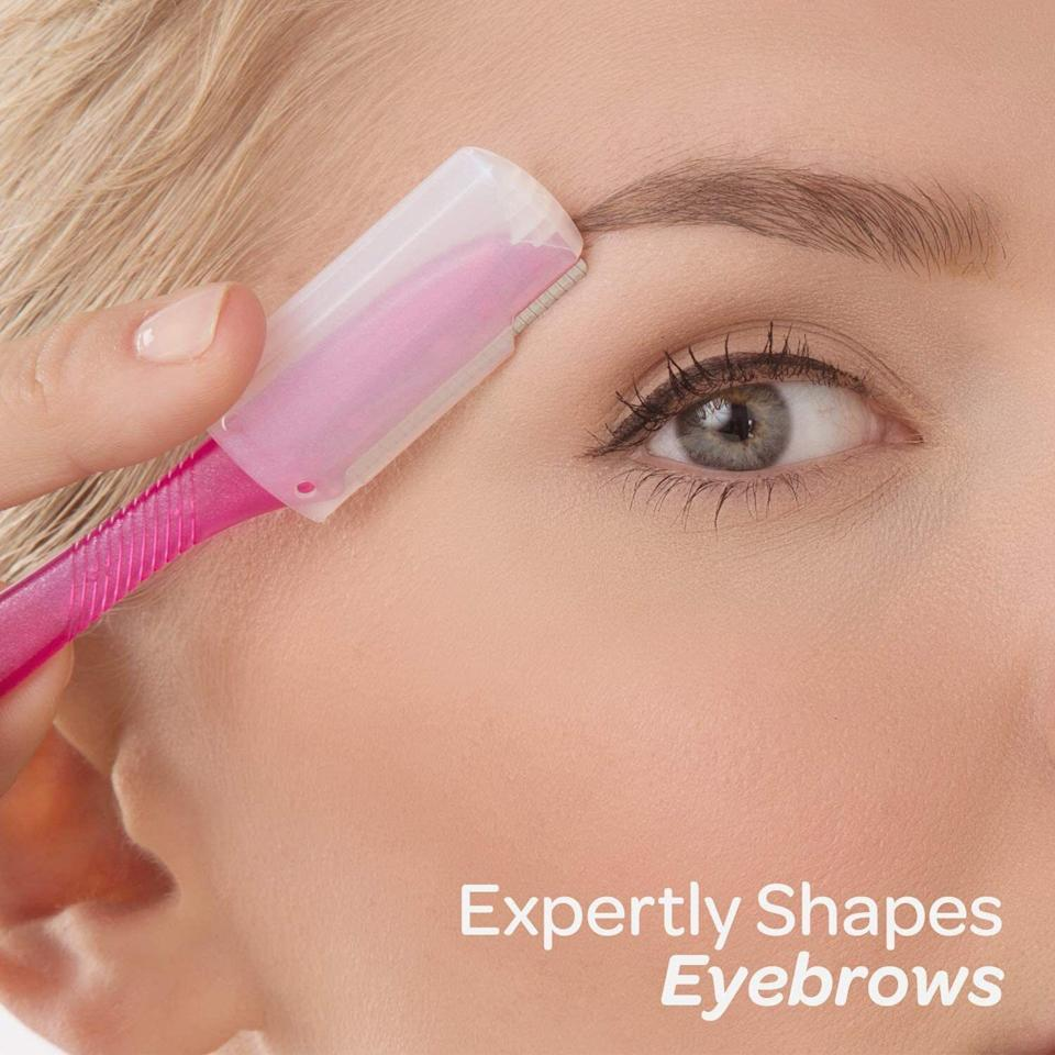 """Youcan use these to take care of those unibrow hairs that keep dodging your tweezers, or to get whatever face fuzzies you might have. Beats getting them professionally threaded or waxed.This tool also helps soften skin by gently exfoliating as you use it!<br /><br /><strong>Promising review:</strong>""""I just got this delivered today, so I decided to test it. I'm a woman with very dark and coarse hair, so my peach fuzz is a little more prominent than normal, and I'll admit that I do have a unibrow that I try to shave.<strong>I've tried everything from a facial blade that never really did much of anything, to a regular old razor, and then finally an electric razor. None of them did what this thing does.</strong>My electric razor cuts about half of the growth of the hair, and this razor completely eliminated it.<strong>I can't even feel any residual hair that's usually left when I shave, only skin.</strong>Plus the built in exfoliation when in use is a great addition; no need for any sort of lotion or shaving cream (although you may want to use right after a shower or get the area wet to weaken the follicles, just as you would any other sort of razor before shaving, and also to avoid razor burn). I hadn't really intended on this happening, but I actually procrastinated on shaving my unibrow this time around and this is going to sound so odd but I'm glad that I did because<strong>it completely eliminated the existence of my unibrow</strong>."""" —<a href=""""https://www.amazon.com/gp/customer-reviews/R1JBNUBA1BBXTP?&linkCode=ll2&tag=huffpost-bfsyndication-20&linkId=773d3541a904d1d50481330d5a7ff9c7&language=en_US&ref_=as_li_ss_tl"""" target=""""_blank"""" rel=""""noopener noreferrer"""">Natalie Clark</a><br /><br /><strong>Get a set of three from Amazon for <a href=""""https://www.amazon.com/dp/B0787GLBMV?&linkCode=ll1&tag=huffpost-bfsyndication-20&linkId=6f37d8fd5849e79489e2560435e7e30a&language=en_US&ref_=as_li_ss_tl"""" target=""""_blank"""" rel=""""noopener noreferrer"""">$4.99</a>.</strong>"""
