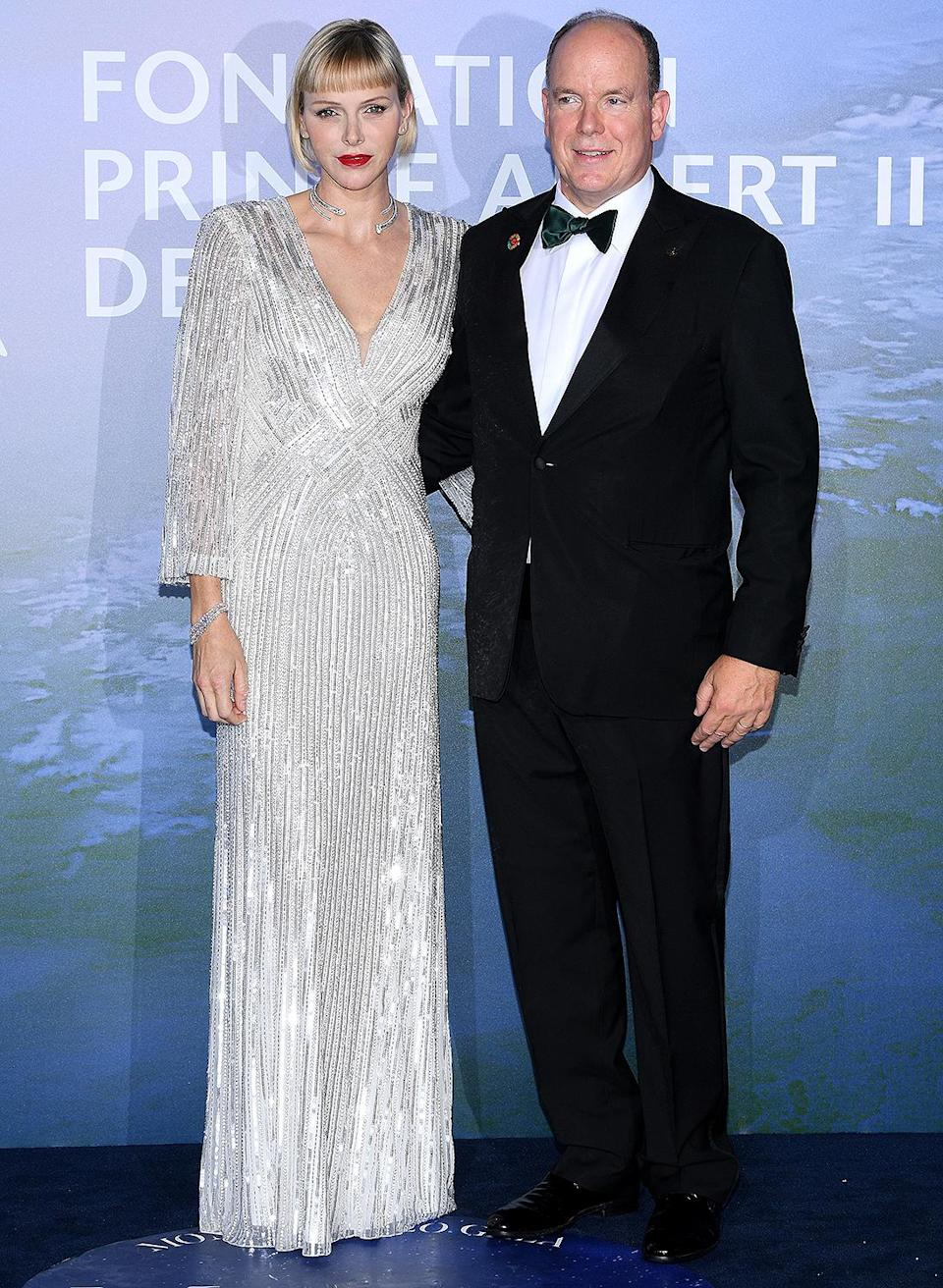 <p>At the glamorous Monte-Carlo Gala for Planetary Health on the terraces of the Opera of Monaco, Charlene stunned in a white Jenny Packham paired with a necklace by Repossi.</p>