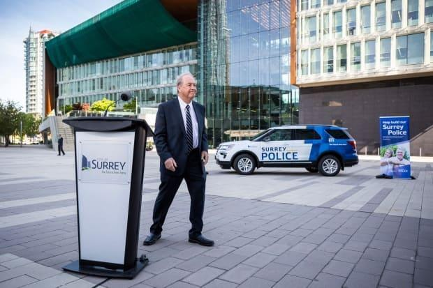 Surrey Mayor Doug McCallum is pictured near a Surrey police vehicle on Tuesday, May 7, 2019.  (Ben Nelms/CBC - image credit)