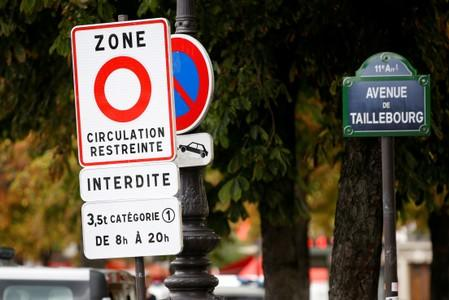 "FILE PHOTO: A road sign reading ""restricted traffic area"" in Paris, part of a plan to ban the worst-polluting lorries and coaches from the French capital"