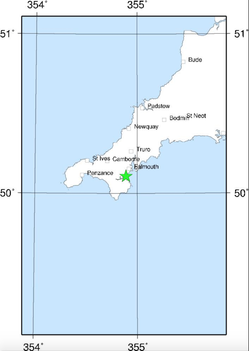 The British Geological Survey said the tremor hit around 5km south-west of Falmouth in Cornwall (Picture: British Geological Survey)