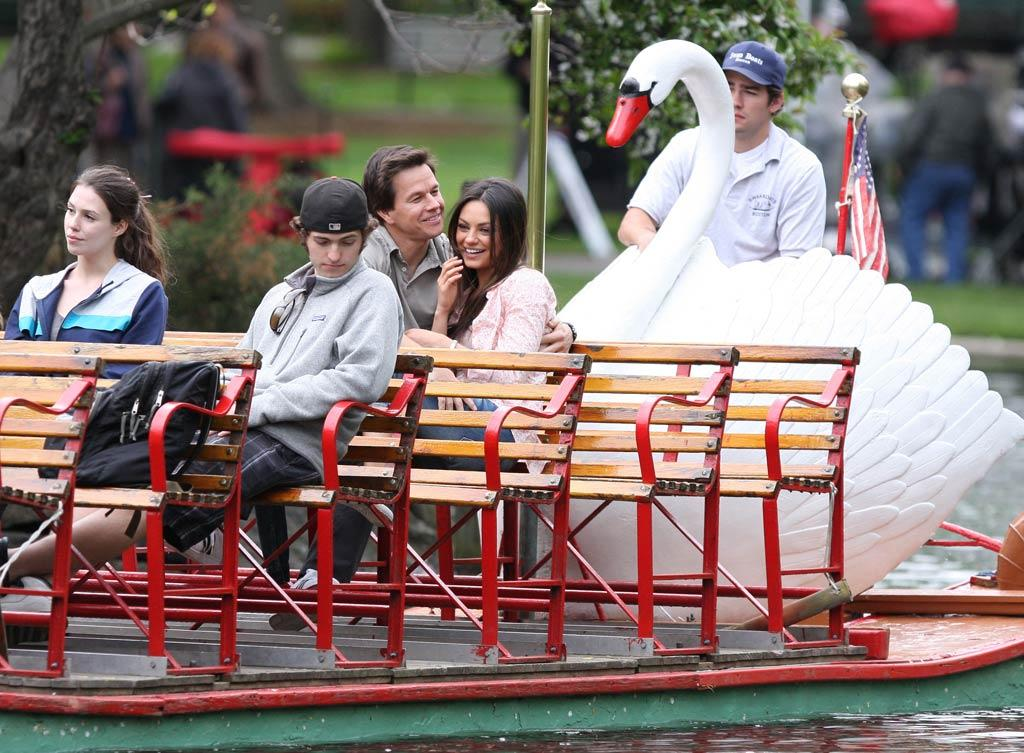 "On Monday, Mark Wahlberg and Mila Kunis were spotted filming their new comedy, ""Ted,"" in Boston, where they took a ride on the famous Swan Boats. <a href=""http://www.splashnewsonline.com"" target=""new"">Splash News</a> - May 9, 2011"