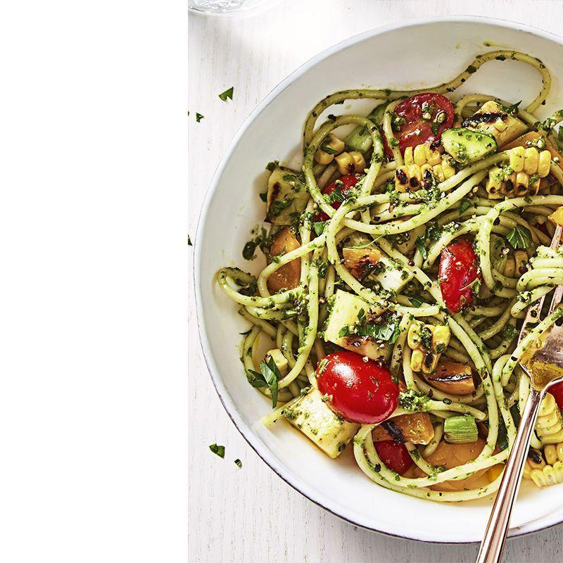 """<p>This pretty pasta dish is loaded with everyone's favorite summer veggies, making it a solid summer barbecue staple.</p><p><em>Get the recipe from <a href=""""https://www.goodhousekeeping.com/food-recipes/a44097/summer-pesto-pasta-recipe/"""" rel=""""nofollow noopener"""" target=""""_blank"""" data-ylk=""""slk:Good Housekeeping"""" class=""""link rapid-noclick-resp"""">Good Housekeeping</a>.</em></p>"""