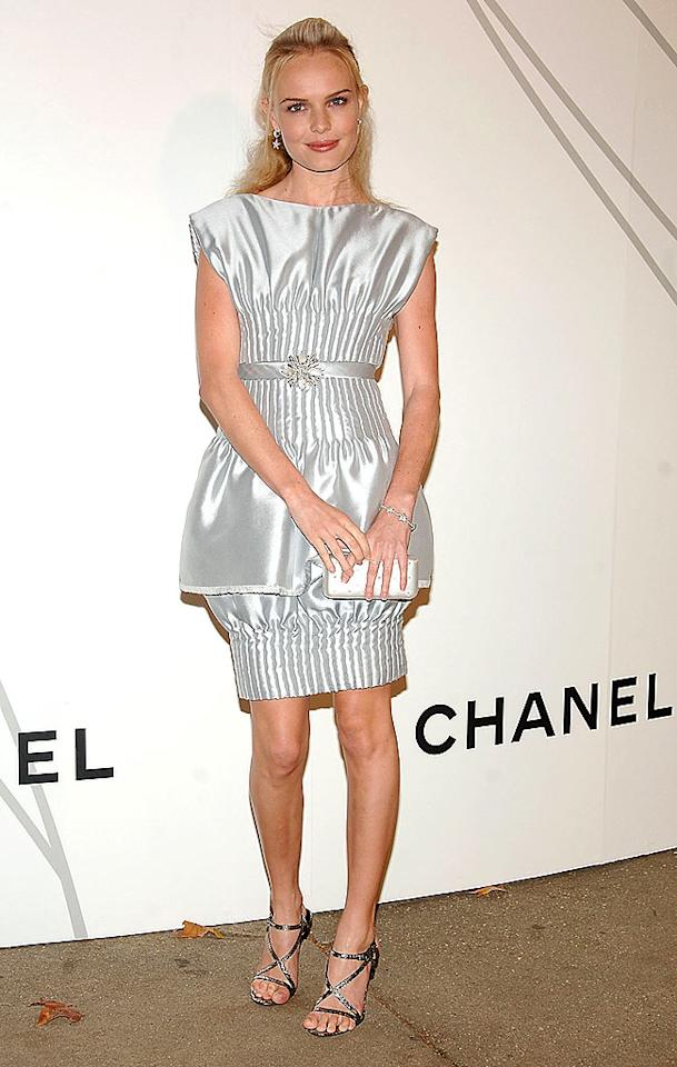 "Kate Bosworth bombed in this robotic mess of a dress at a recent Chanel soiree in NYC. Jamie McCarthy/<a href=""http://www.wireimage.com"" target=""new"">WireImage.com</a> - October 21, 2008"
