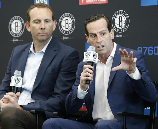 GM Sean Marks (left) and head coach Kenny Atkinson will start the Nets' rebuild in earnest this year. (AP)