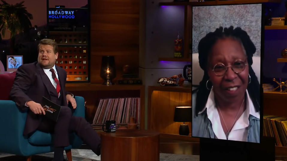 James Corden interview Whoopi Goldberg on 'The Late Late Show'. (Credit: CBS)