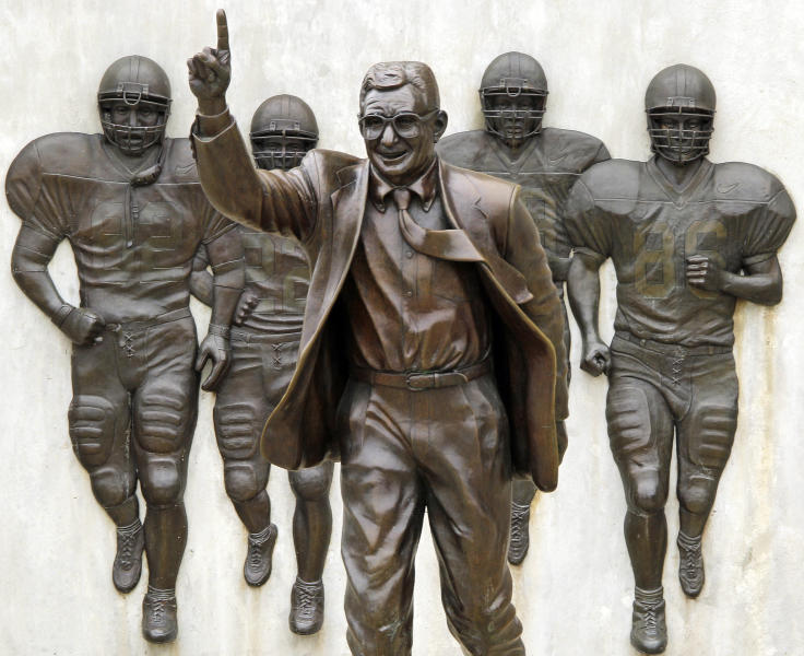 This is the statue of former Penn State University head football coach Joe Paterno that stands outside Beaver Stadium in State College, Pa., Friday, July 13, 2012. After an eight-month inquiry, Former FBI director Louis Freeh's firm produced a 267-page report that concluded that Paterno and other top Penn State officials hushed up child sex abuse allegations against former Penn State assistant football coach Jerry Sandusky for more than a decade for fear of bad publicity, allowing Sandusky to prey on other youngsters. The revelations contained in the report have stirred a debate over whether the statue should remain. (AP Photo/Gene J. Puskar)