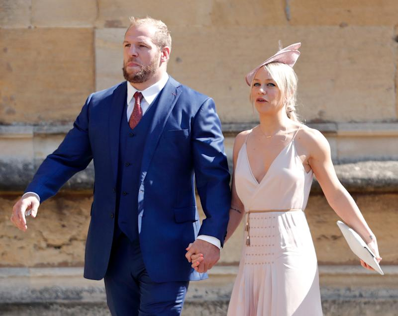 Chloe Madeley with fiancé James Haskell in the dress that caused social media users to rage. [Photo: Getty]