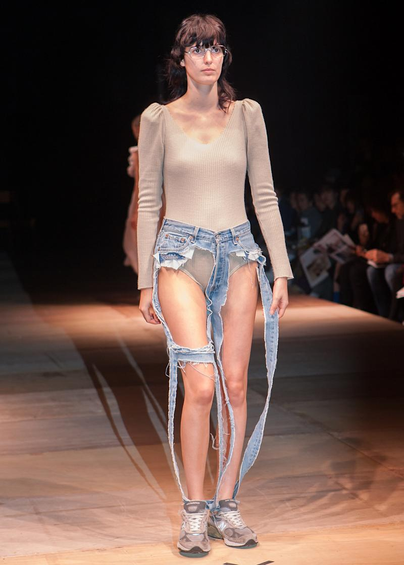 Designer Thibaut unveiled an ultra-revealing pair of jeans on Thursday.