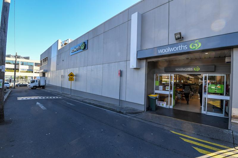 Balmain Woolworths car park is pictured.