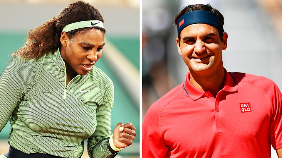 Serena Williams (pictured left) fist-pumping during her match and Roger Federer (pictured right)smiling after a win.