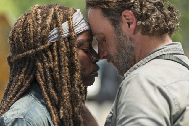 <p>Andrew Lincoln as Rick Grimes, Danai Gurira as Michonne in AMC's <i>The Walking Dead</i>.<br>(Photo: Gene Page/AMC) </p>