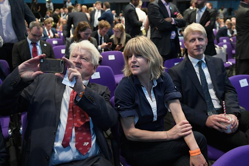 Left to right: Boris Johnson's father Stanley Johnson, sister Rachel Johnson and brother Jo Johnson at the Queen Elizabeth II Centre in London (Picture: PA)