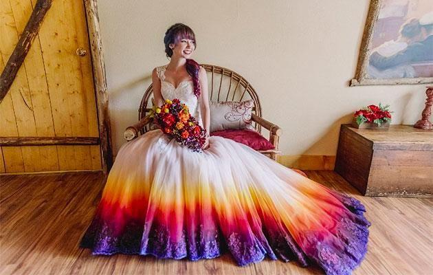 Taylor Ann airbrushed her own wedding dress. Photo: James Tang Photography