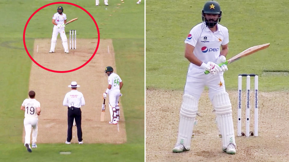 Fawad Alam's unusual batting stance took cricket fans by surprise. Image: Sky Sports Cricket