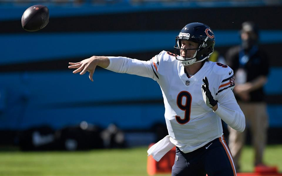 Chicago Bears quarterback Nick Foles (9) passes against the Carolina Panthers during the first half of an NFL football game in Charlotte, N.C., Sunday, Oct. 18, 2020. - AP