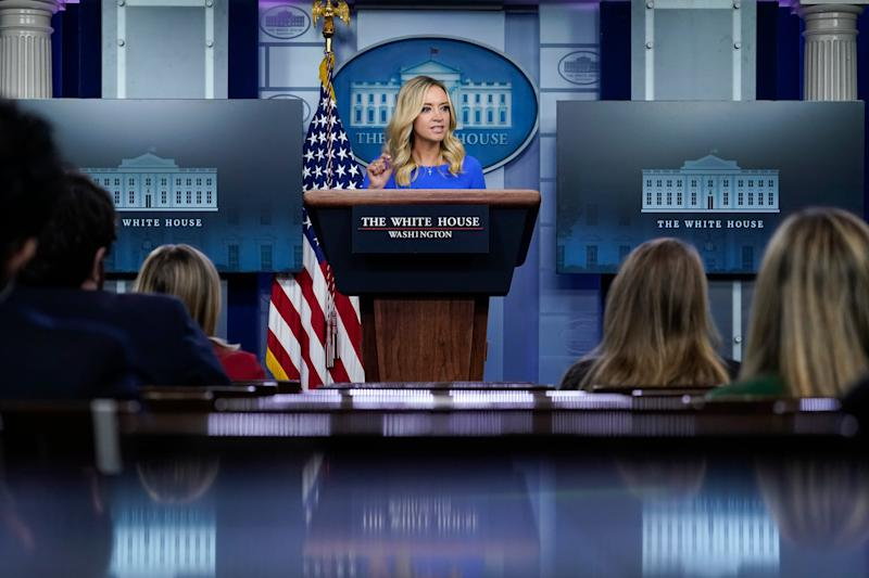 White House press secretary Kayleigh McEnany speaks during a press briefing at the White House on Thursday.