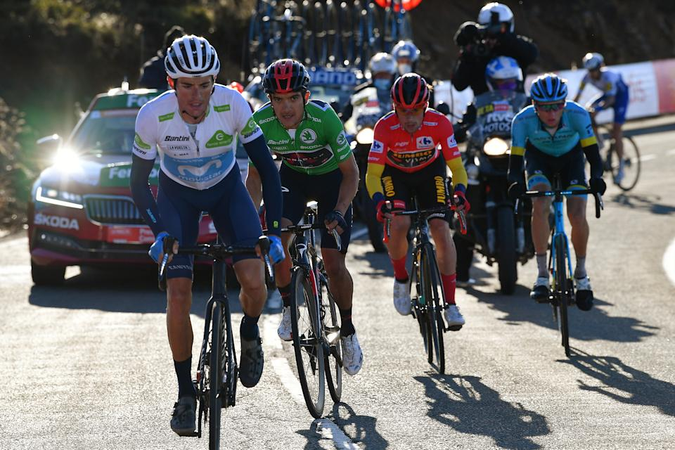 ALTO-DE-LA-COVATILLA, SPAIN - NOVEMBER 07: Enric Mas Nicolau of Spain and Movistar Team White Best Young Jersey / Richard Carapaz of Ecuador and Team INEOS - Grenadiers Green Points Jersey / Primoz Roglic of Slovenia and Team Jumbo - Visma Red Leader Jersey / Aleksander Vlasov of Russia and Astana Pro Team / Breakaway / during the 75th Tour of Spain 2020, Stage 17 a 178,2km stage from Sequeros to Alto de la Covatilla-Sierra de Béjar 1965m / @lavuelta / #LaVuelta20 / La Vuelta / on November 07, 2020 in Alto de la Covatilla, Spain. (Photo by Justin Setterfield/Getty Images)