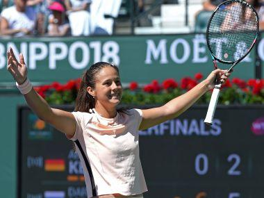Daria Kasatkina celebrates her win against Angelique Kerber at Indian Wells. Reuters