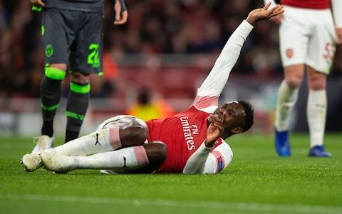 <span>Danny Welbeck realised he was in trouble immediately after falling awkwardly</span> <span>Credit: GETTY IMAGES </span>