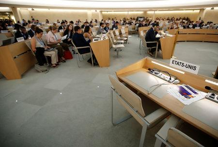 Empty seats of the United States delegation are pictured one day after the U.S. announced their withdraw during a session of the Human Rights Council at the United Nations in Geneva, Switzerland June 20, 2018.  REUTERS/Denis Balibouse