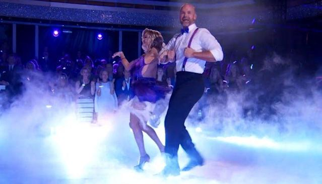 "David Ross smiles during his final routine on the ""Dancing with the Stars"" finale. (YouTube/ABC)"