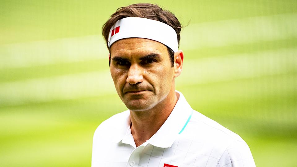 Roger Federer's (pictured) looking up to his player's box during his victory overCameron Norrie at Wimbledon.
