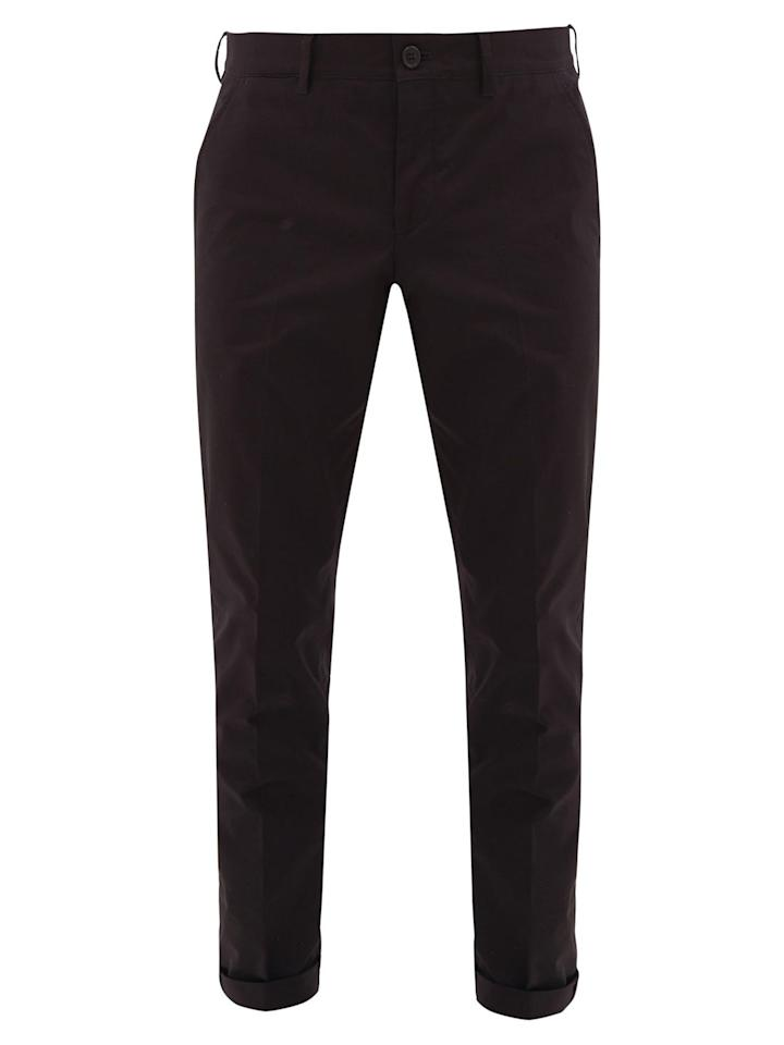 """<p>These slim-fit trousers can be worn casually with sandals in the summer, or with loafers for a more formal occasion. </p><p>Technical-twill trousers, £335, Prada at MatchesFashion.com</p><p><a class=""""body-btn-link"""" href=""""https://go.redirectingat.com?id=127X1599956&url=https%3A%2F%2Fwww.matchesfashion.com%2Fproducts%2FPrada-Slim-fit-technical-twill-trousers--1156189&sref=https%3A%2F%2Fwww.townandcountrymag.com%2Fuk%2Fstyle%2Ffashion%2Fg32768324%2Fwhat-to-wear-fathers-day%2F"""" target=""""_blank"""">SHOP NOW</a></p>"""