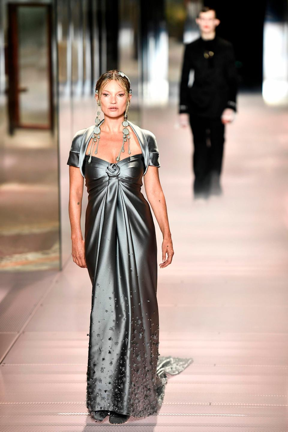 Kate Moss walks in the Fendi Couture showAFP via Getty Images