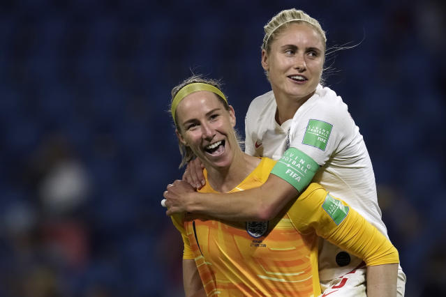 Steph Houghton of England Women, Karen Bardsley of England Women during the World Cup Women match between Norway v England at the Stade Oceane on June 27, 2019 in Le Havre France (Photo by Geert van Erven/Soccrates/Getty Images)