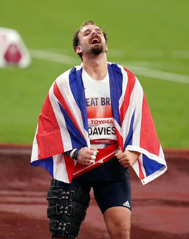 Aled Sion Davies showed joy and emotion after winning the shot put
