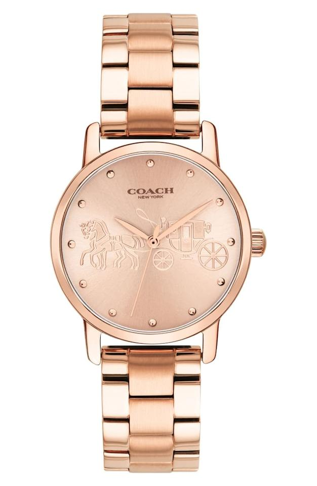 """<p>This rose gold <a href=""""https://www.popsugar.com/buy/COACH-Grand-Bracelet-Watch-495119?p_name=COACH%20Grand%20Bracelet%20Watch&retailer=shop.nordstrom.com&pid=495119&price=195&evar1=savvy%3Aus&evar9=25946384&evar98=https%3A%2F%2Fwww.popsugar.com%2Fphoto-gallery%2F25946384%2Fimage%2F46686055%2FCOACH-Grand-Bracelet-Watch&list1=shopping%2Choliday%2Cage%2Cgift%20guide%2Cmothers%20day%2Cgifts%20for%20women%2Cgifts%20under%20%24100%2Cgifts%20under%20%2450%2Cgifts%20under%20%2475&prop13=api&pdata=1"""" rel=""""nofollow"""" data-shoppable-link=""""1"""" target=""""_blank"""" class=""""ga-track"""" data-ga-category=""""Related"""" data-ga-label=""""https://shop.nordstrom.com/s/coach-grand-bracelet-watch-36mm/5449535?origin=keywordsearch-personalizedsort&amp;breadcrumb=Home%2FAll%20Results%2FWomen%27s%20Accessories&amp;color=rose%20gold"""" data-ga-action=""""In-Line Links"""">COACH Grand Bracelet Watch</a> ($195) is an amazing gift idea.</p>"""