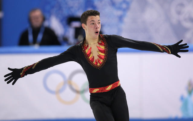 Jorik Hendrickx of Belgium competes in the men's short program figure skating competition at the Iceberg Skating Palace during the 2014 Winter Olympics, Thursday, Feb. 13, 2014, in Sochi, Russia. (AP Photo/Bernat Armangue)