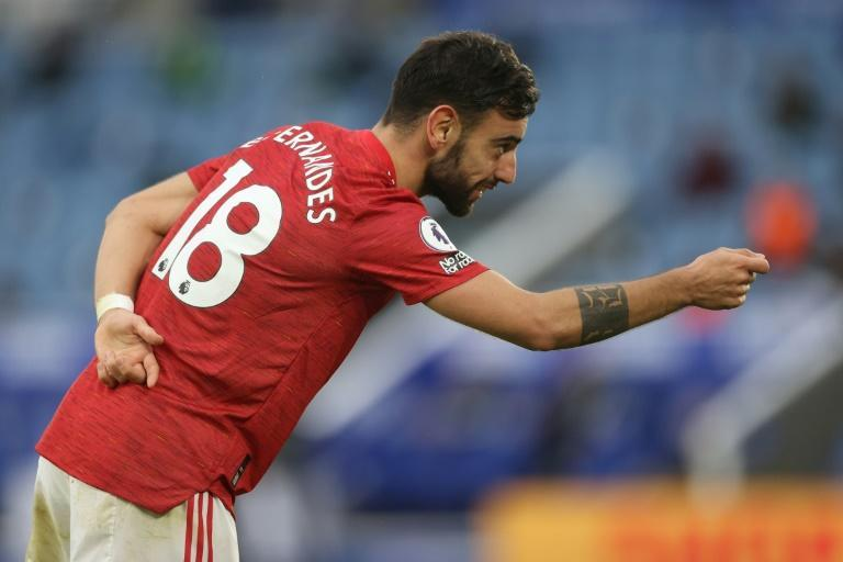 Hats off: Bruno Fernandes's 14th goal of the season was not enough to earn Manchester United victory at Leicester