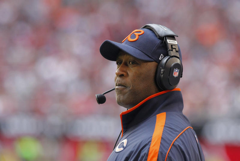 FILE -- In a Dec. 23, 2012 file photo Chicago Bears head coach Lovie Smith watches his team during the first half of an NFL football game against the Arizona Cardinals in Glendale, Ariz.  The Chicago Bears have fired coach Lovie Smith after the team missed the playoffs for the fifth time in six seasons.  (AP Photo/Rick Scuteri/file)