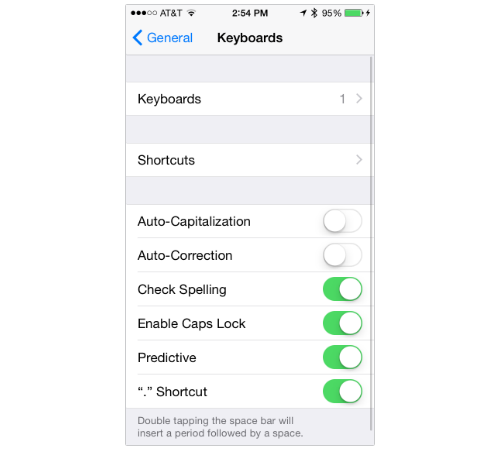 iPhone Keyboard settings screen