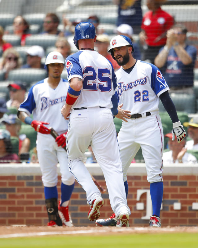 Atlanta Braves' Tyler Flowers (25) celebrates scoring with Nick Markakis (22) in the third inning of a baseball game against the Baltimore Orioles, Sunday, June 24, 2018, in Atlanta. (AP Photo/Todd Kirkland)