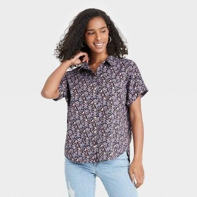 <p>This <span>Universal Thread Dolman Short Sleeve Button-Down Shirt</span> ($18) can easily be dressed up or down.</p>