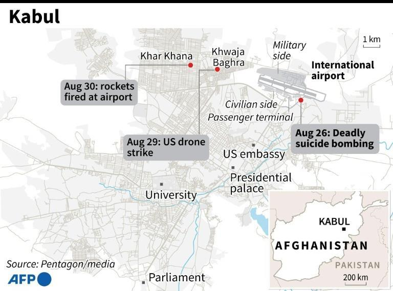 Map of Kabul, Afghanistan locating the deadly suicide bombing on August 26, 2021, targeted US drone strike on August 29, 2021 and rockets fired at aiport on August 30, 2021 (AFP/STAFF)