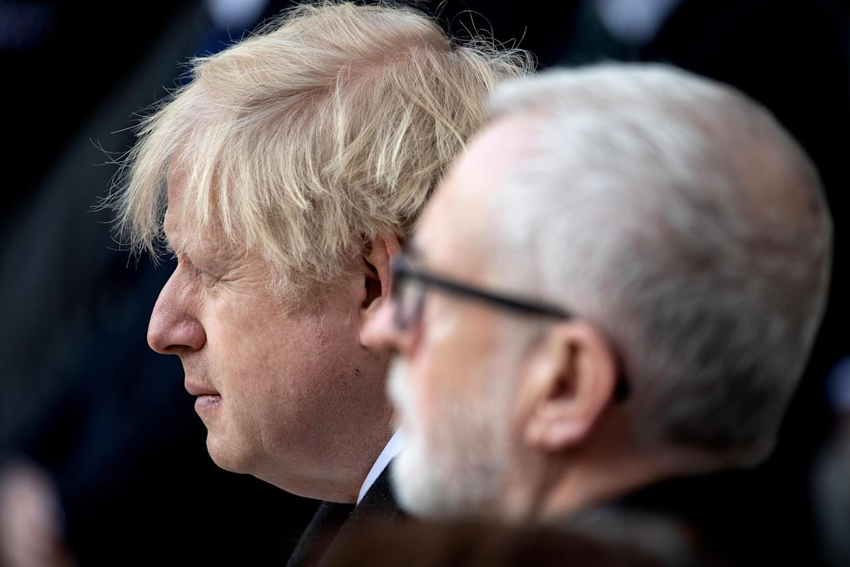Boris Johnson and Jeremy Corbyn at the vigil at Guildhall Yard, London (Getty)