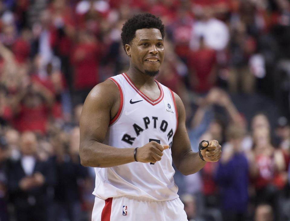 Toronto Raptors guard Kyle Lowry reacts in the finals seconds of Game 6 against the Milwaukee Bucks in the NBA basketball playoffs Eastern Conference finals Saturday, May 25, 2019, in Toronto. (Nathan Denette/The Canadian Press via AP)