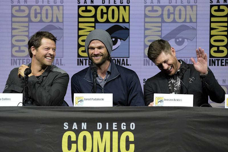 Misha Collins (from left) , Jared Padalecki and Jensen Ackles participate in their final