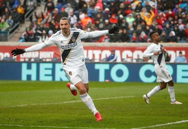 Zlatan Ibrahimovic celebrates his goal – the only goal of the Los Angeles Galaxy's 1-0 win over the Chicago Fire – on Saturday. A day later, he dropped a World Cup hint on Twitter. (AFP)