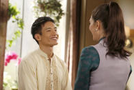 <p>I believe <em>The Good Place</em> is the first show to explore sexual relations between an anthropomorphized afterlife information delivery system and a gentleman from Jacksonville, but it's possible <em>St. Elsewhere</em> got there first. (Credit: Vivian Zink/NBC) </p>