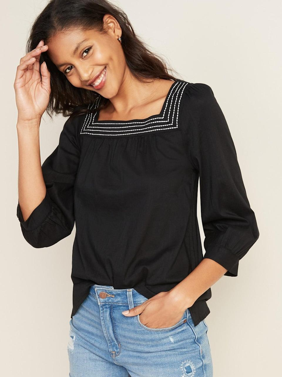 <p>Bring back the vintage boho vibes with this <span>Relaxed Square-Neck Top</span> ($30, originally $35).</p>