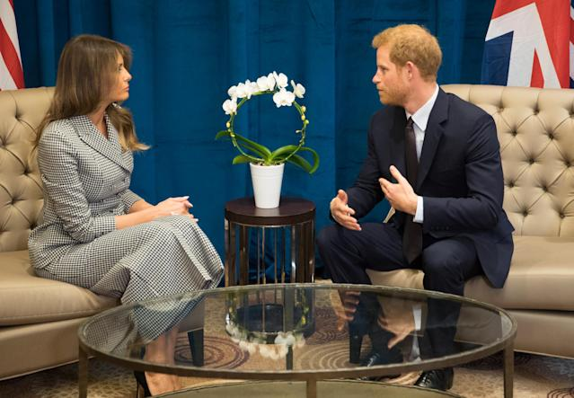 Melania Trump sat down with Prince Harry over the weekend. (Photo: Getty Images)