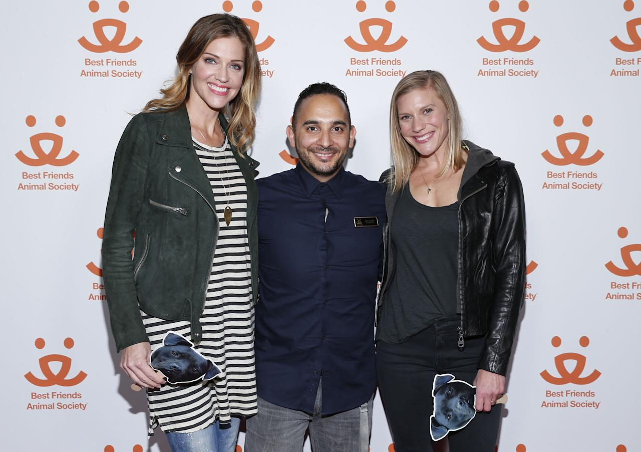"WEST HOLLYWOOD, CA - MARCH 01: (L-R)  Best Friends Animal Society's Tricia Helfer, Marc Peralta, and Katee Sackhoff attend ""The Champions"" documentary presented by Best Friends Animal Society on March 1, 2016 in West Hollywood, California.  (Photo by Rich Polk/Getty Images for Best Friends Animal Society)"